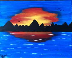 The image for $20 Kids' Awesome Sunset! Super easy!11X14